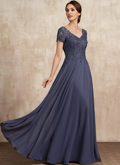 A-Line V-neck Floor-Length Chiffon Lace Evening Dress With Beading Sequins