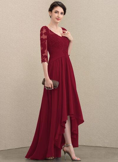 A-Linie V-Ausschnitt Asymmetrisch Chiffon Spitze Kleid für die Brautmutter mit Pailletten