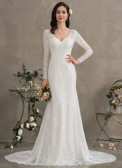 Trompete/Sereia Decote V Cauda de sereia Renda Vestido de noiva