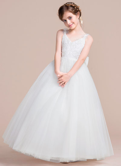 A-Line/Princess Floor-length Flower Girl Dress - Tulle Sleeveless V-neck With Flower(s)/Bow(s)
