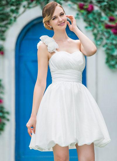 A-Line/Princess One-Shoulder Short/Mini Taffeta Wedding Dress With Ruffle Flower(s)