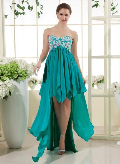 Corte A/Princesa Escote corazón Asimétrico Chifón Vestido de baile de promoción con Encaje Bordado Lentejuelas Cascada de volantes