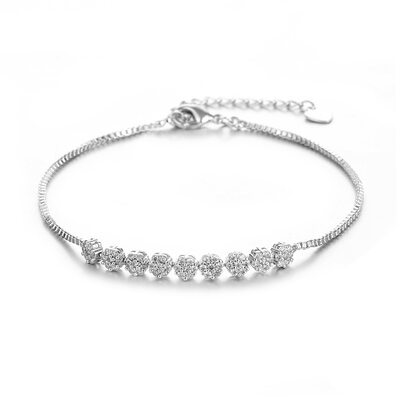 Delicate Chain Bridal Bracelets With Cubic Zirconia - Valentines Gifts For Her