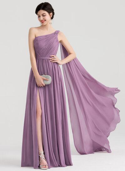 Forme Princesse Seule-épaule Longueur ras du sol Mousseline Robe de soirée avec Plissé Fendue devant