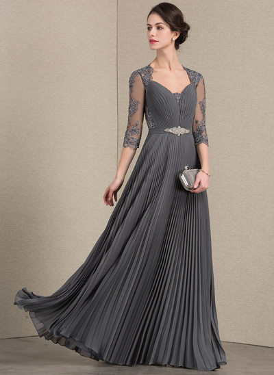 A-Line/Princess Sweetheart Floor-Length Chiffon Lace Evening Dress With Beading Pleated