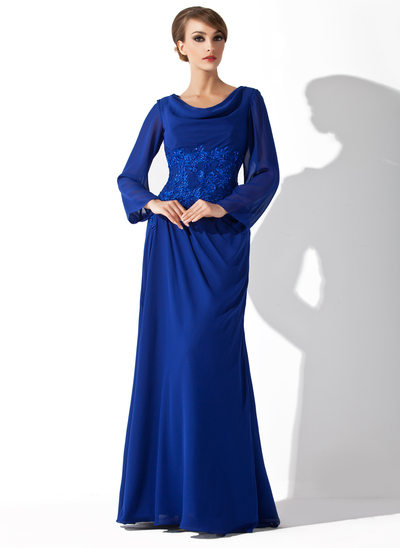 A-Line/Princess Cowl Neck Floor-Length Chiffon Mother of the Bride Dress With Lace