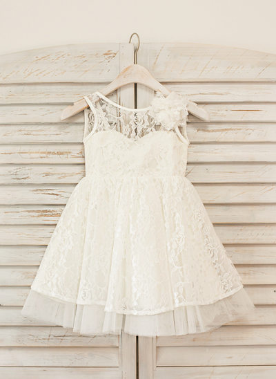 A-Line/Princess Knee-length Flower Girl Dress - Lace Sleeveless Scoop Neck With Flower(s)/V Back