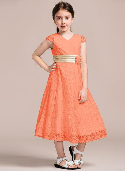 Vestidos princesa/ Formato A Decote V Comprimento médio Renda Vestido de daminha júnior com Pregueado fecho de correr
