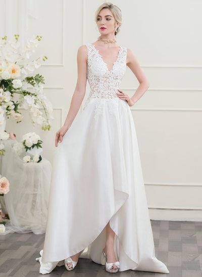 A-Linie/Princess-Linie V-Ausschnitt Asymmetrisch Brautkleid