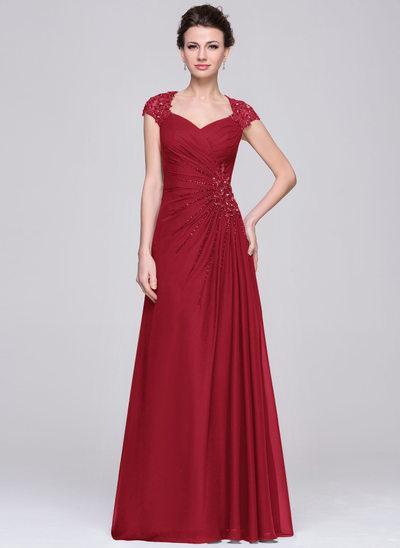A-Linie/Princess-Linie Schatz Bodenlang Chiffon Kleid für die Brautmutter mit Rüschen Spitze Perlstickerei Pailletten