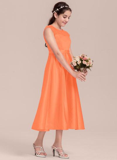 Vestidos princesa/ Formato A Decote redondo Comprimento médio Cetim Vestido de daminha júnior