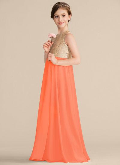 Vestidos princesa/ Formato A Decote redondo Longos Tecido de seda Lantejoulas Vestido de daminha júnior