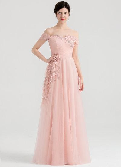 A-Linie/Princess-Linie Off-the-Schulter Bodenlang Tüll Abendkleid mit Rüschen Feder Blumen