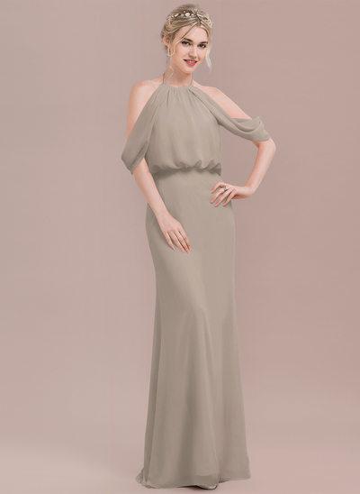 Trumpet/Mermaid Scoop Neck Floor-Length Chiffon Prom Dresses With Ruffle