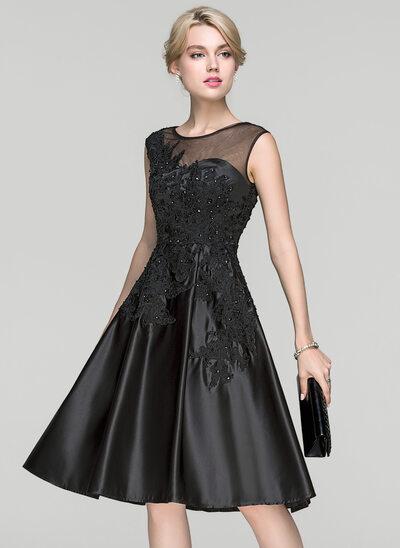 Vestidos princesa/ Formato A Decote redondo Coquetel Cetim Vestido de cocktail com Beading lantejoulas
