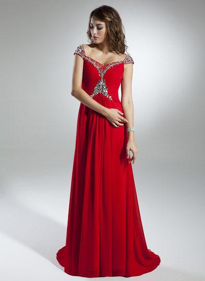 Çan/Prenses Off-Omuz Kuyruklu Şifon Tatil Elbisesi Ile Büzgü boncuklu kısım