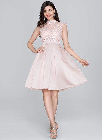 A-Linie/Princess-Linie High Neck Knielang Satin Cocktailkleid
