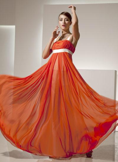 Empire Square Neckline Floor-Length Chiffon Holiday Dress With Ruffle Sash