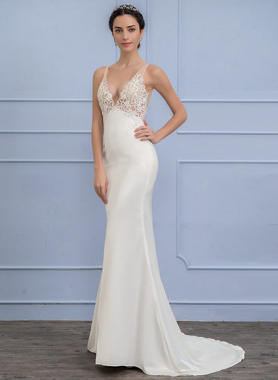 Empire V-neck Sweep Train Stretch Crepe Wedding Dress