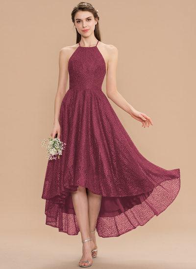 A-Line Scoop Neck Asymmetrical Lace Bridesmaid Dress