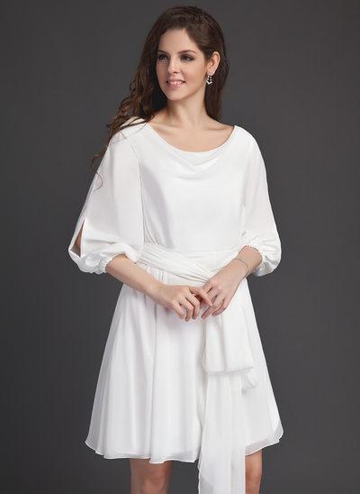 A-Line/Princess Cowl Neck Short/Mini Chiffon Homecoming Dress With Sash Bow(s)
