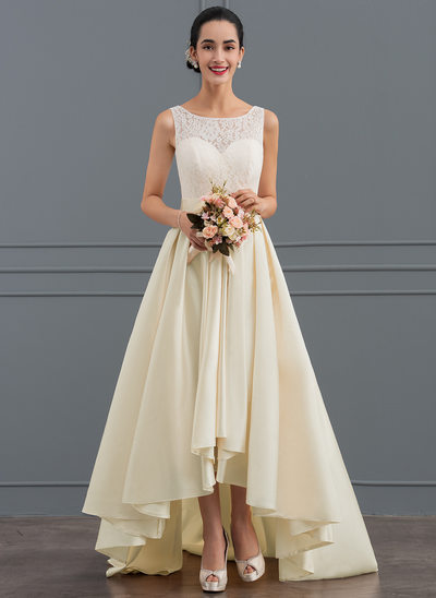 A-Line/Princess Scoop Neck Asymmetrical Satin Lace Wedding Dress With Bow(s)