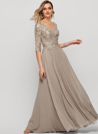 Corte A Decote V Longos Tecido de seda Vestido de festa