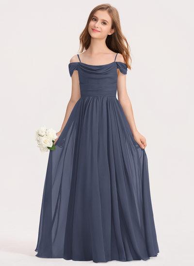 Corte A Off-the-ombro Longos Tecido de seda Vestido de daminha júnior com Pregueado