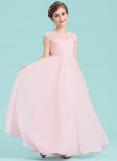 A-Lijn/Prinses Ronde Hals Vloer lengte De Chiffon Junior Bruidsmeisjes Jurk