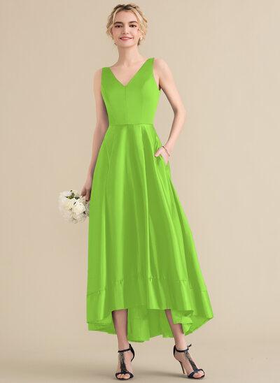 A-Line/Princess V-neck Asymmetrical Satin Prom Dresses With Pockets