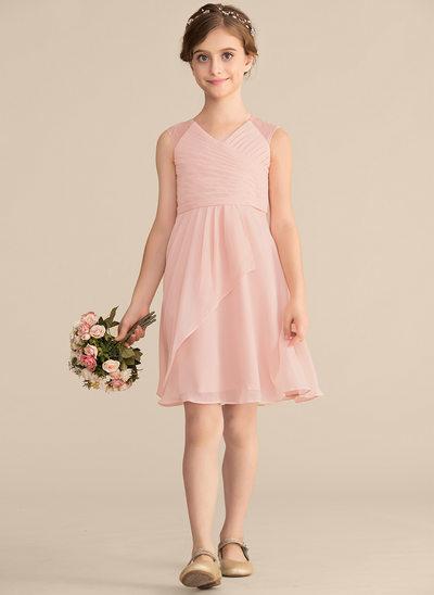 A-Linie/Princess-Linie V-Ausschnitt Knielang Chiffon Spitze Kleid für junge Brautjungfern mit Gestufte Rüschen