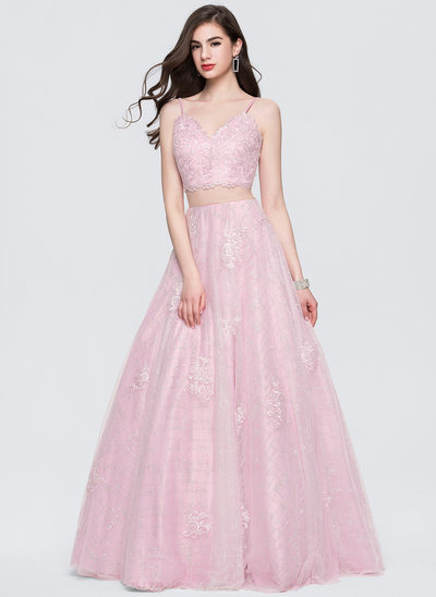 Ball-Gown V-neck Floor-Length Tulle Prom Dress