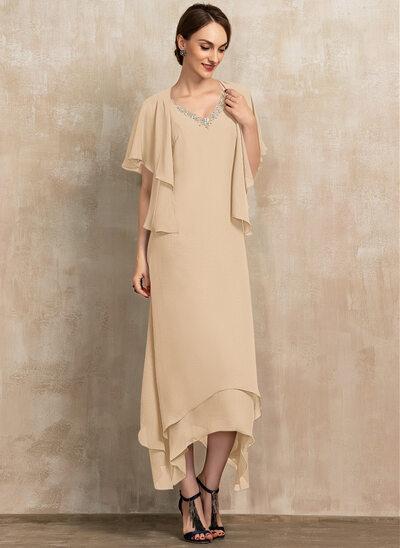 A-Linjainen V-kaula-aukko Nilkka-pituus Sifonki Morsiamen äiti-mekko jossa Helmikoristelu