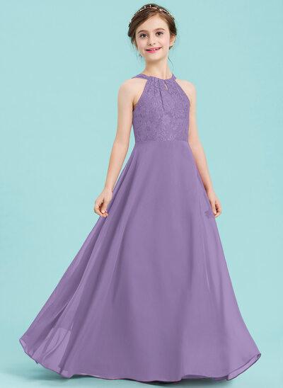 A-linjainen/Prinsessa Pyöreä kaula-aukko Lattiaa hipova pituus Sifonki Nuorten morsiusneito mekko