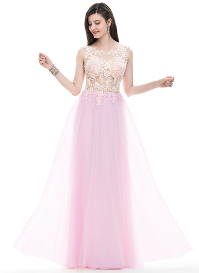 A-Line/Princess Scoop Neck Floor-Length Tulle Prom Dress With Beading Sequins