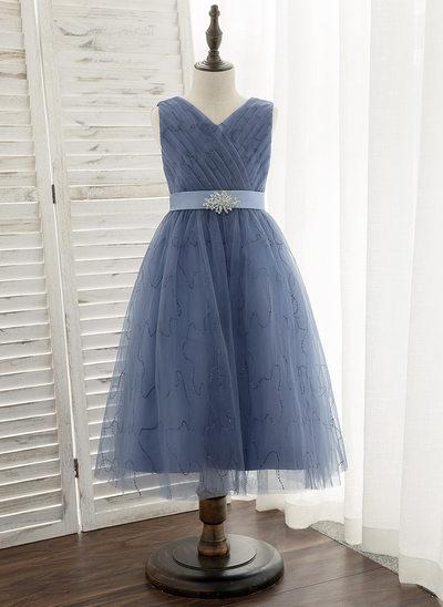A-Line Tea-length Flower Girl Dress - Satin/Tulle Sleeveless V-neck With Rhinestone