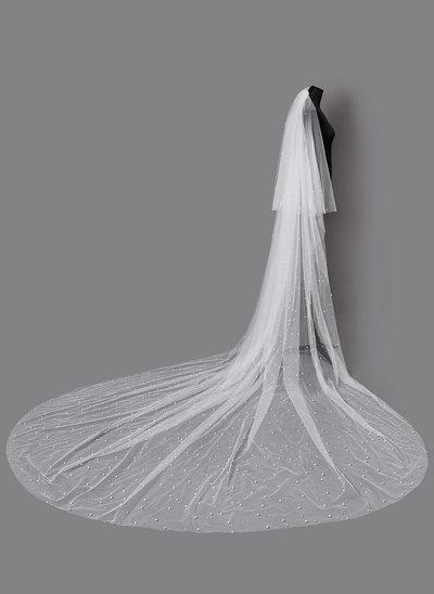 Duas camada Corte da borda Véus de noivas capela com Falso pérola