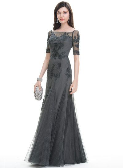 Trompete/Meerjungfrau-Linie Rechteckiger Ausschnitt Bodenlang Tüll Abendkleid
