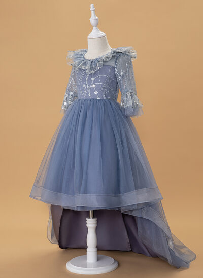 A-Line Asymmetrical Flower Girl Dress - Tulle 3/4 Sleeves Scoop Neck With Ruffles