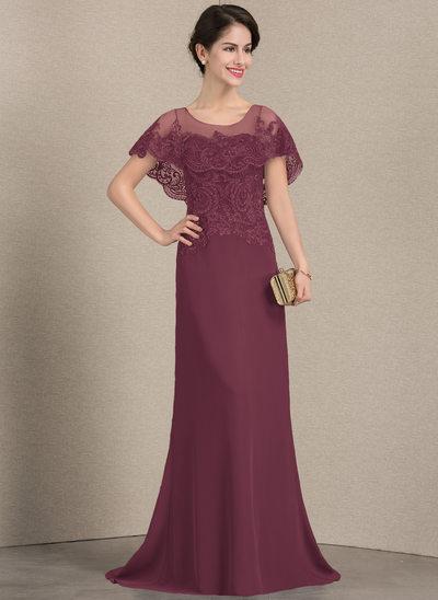 Corte A/Princesa Escote redondo Barrer/Cepillo tren Gasa Encaje Vestido de madrina