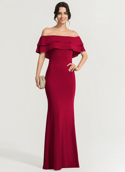 Sheath/Column Off-the-Shoulder Floor-Length Stretch Crepe Prom Dresses