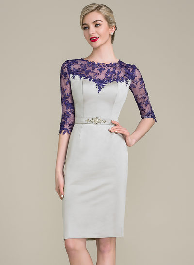 Sheath/Column Scoop Neck Knee-Length Satin Mother of the Bride Dress With Lace Beading