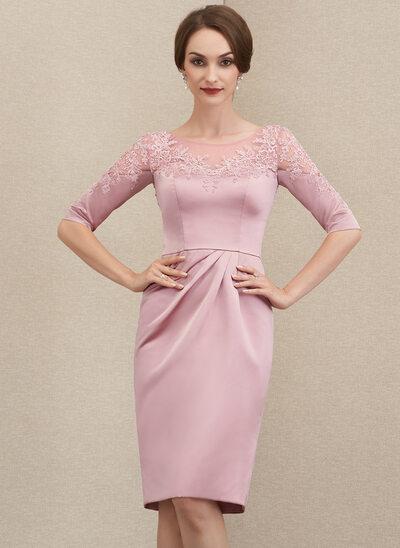 Etui-Linie U-Ausschnitt Knielang Satin Spitze Kleid für die Brautmutter mit Perlstickerei Pailletten