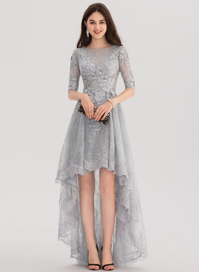 A-Line/Princess Scoop Neck Asymmetrical Tulle Lace Prom Dresses