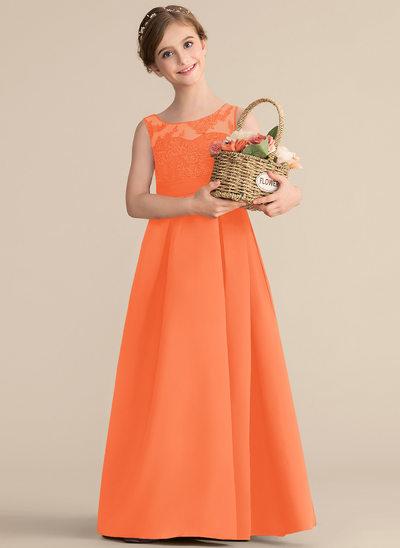 Vestidos princesa/ Formato A Decote redondo Longos Cetim Renda Vestido de daminha júnior com Pregueado Curvado