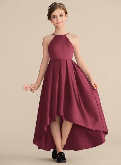 A-Line/Princess Scoop Neck Asymmetrical Satin Junior Bridesmaid Dress With Ruffle