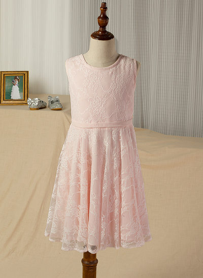 A-Line/Princess Knee-length Flower Girl Dress - Chiffon/Lace Sleeveless Scoop Neck With Sash/V Back (Detachable sash)