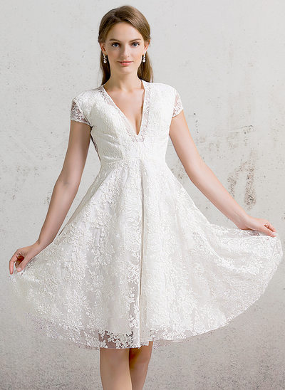A-Line/Princess V-neck Knee-Length Lace Wedding Dress