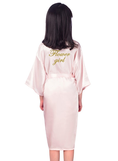 Personalized Flower Girl Polyester With Knee-Length Personalized Robes Girl Robes