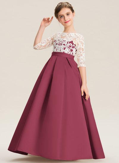 Ball-Gown/Princess Scoop Neck Floor-Length Satin Lace Junior Bridesmaid Dress